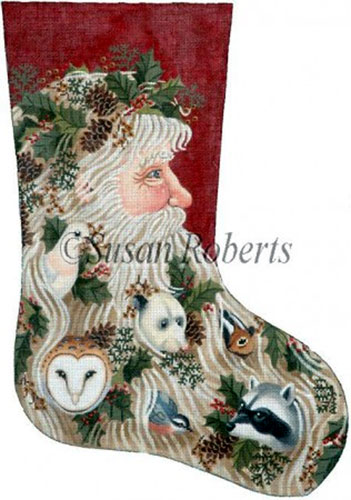 Santa and Critters - 18 Count Needlepoint Stocking Canvas