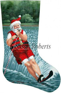 Santa Water Skier Needlepoint Stocking Canvas