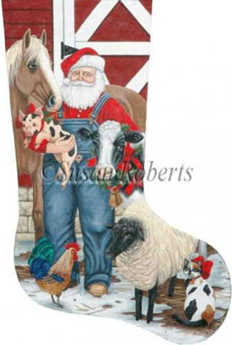 Santa Farmer Needlepoint Stocking Canvas