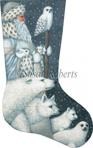 arctic santa needlepoint stocking canvas