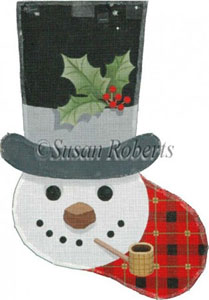 Snowman in Top Hat - 13 Count Needlepoint Stocking Canvas