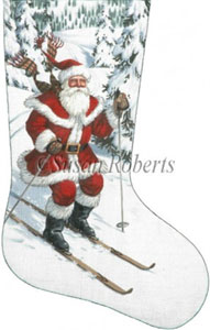 Santa Skiing Needlepoint Stocking Canvas