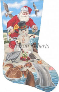 Santa Seashore Needlepoint Stocking Canvas