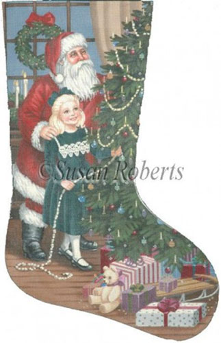 Lisa and Santa Needlepoint Stocking Canvas