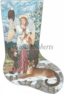 Angel & Animals Needlepoint Christmas Stocking Canvas