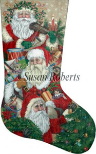 Victorian Parade of Santas Needlepoint Stocking Canvas