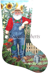 Gardener Santa Needlepoint Stocking Canvas