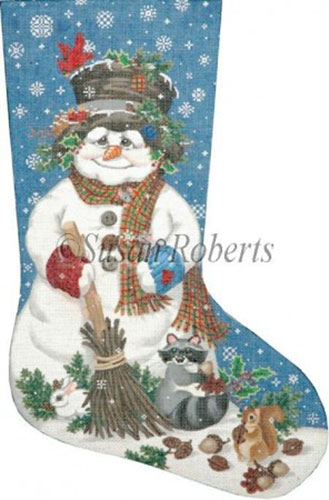 Woodland Snowman - 18 Count Needlepoint Stocking Canvas