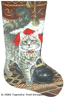 Buttons & Santa Needlepoint Stocking Canvas