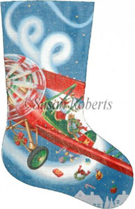 Flying High Santa - 13 Count Needlepoint Stocking Canvas