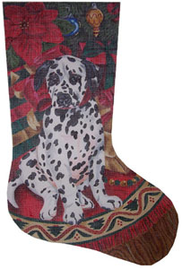 Dalmatian Christmas Needlepoint Stocking Canvas