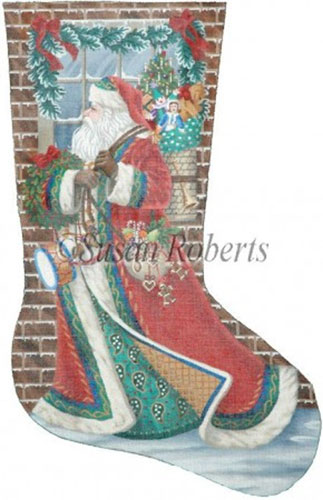 Santa Delivering - 18 Count Needlepoint Stocking Canvas