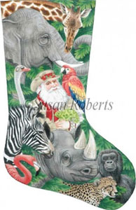 Safari Santa Needlepoint Stocking Canvas