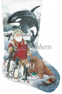 North Shore Santa Needlepoint Stocking Canvas