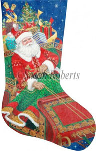 Santa's on His Way Needlepoint Stocking Canvas