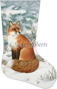 Fox in Snow Needlepoint Stocking Canvas