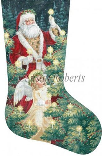 Lighting the Trees - 13 Count Needlepoint Stocking Canvas