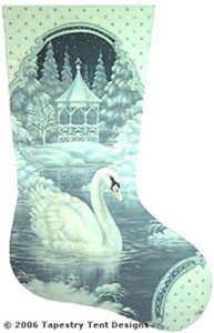 Swan Needlepoint Stocking Canvas
