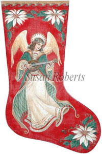 Angel & Poinsettia Needlepoint Christmas Stocking Canvas