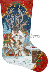 On the Rooftop - 13 Count Needlepoint Stocking Canvas