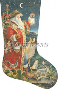 Southern Santa - 13 Count Needlepoint Stocking Canvas