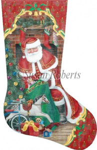 Santa's First Stop Needlepoint Stocking Canvas