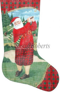 Santa Teeing Off - 13 Count Needlepoint Stocking Canvas
