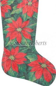 Red Poinsettias Needlepoint Stocking Canvas