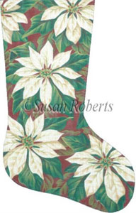 White Poinsettias Needlepoint Stocking Canvas