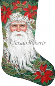 Santa & Poinsettia Needlepoint Stocking Canvas