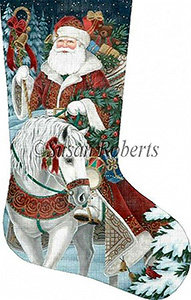 Santa on Horseback Needlepoint Stocking Canvas
