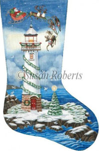 Santa & the Lighthouse Needlepoint Stocking Canvas