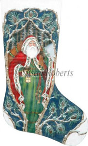 Forest Santa Needlepoint Stocking Canvas