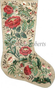 Christmas Floral Needlepoint Stocking Canvas