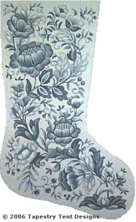 Blue Christmas Floral Needlepoint Stocking Canvas