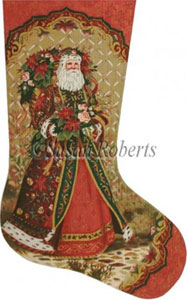 Santa's Bouquet Needlepoint Stocking Canvas