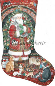 Santa & Kitties Hand Painted Needlepoint Stocking Canvas