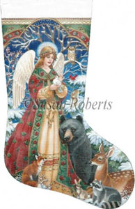 Woodland Angel Hand Painted Needlepoint Stocking Canvas