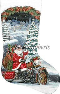 Santa Biker Hand Painted Needlepoint Stocking Canvas