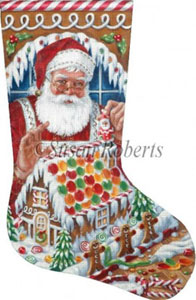 Santa's Gingerbread House Hand Painted Needlepoint Stocking Canvas