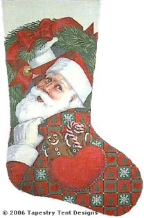 Pocket Santa Hand Painted Needlepoint Stocking Canvas