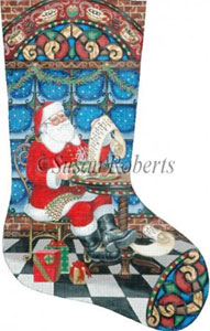 Coffee Break Santa Hand Painted Needlepoint Stocking Canvas