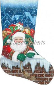 Santa Pops In - 13 Count Hand Painted Needlepoint Stocking Canvas