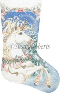 Magic Christmas Unicorn Hand Painted Needlepoint Stocking Canvas