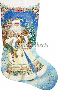 Magic Santa Hand Painted Needlepoint Stocking Canvas
