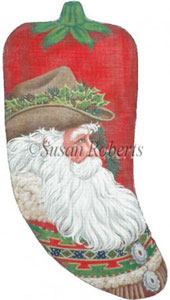 Santa Pepper Sock Hand Painted Needlepoint Stocking Canvas