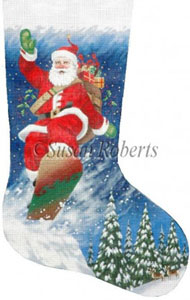 Snowboarding Santa - 13 Count Hand Painted Needlepoint Stocking Canvas