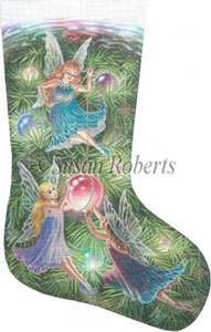 Christmas Fairies Hand Painted Needlepoint Stocking Canvas