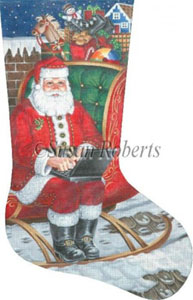 Laptop Santa - 13 Count Hand Painted Needlepoint Stocking Canvas