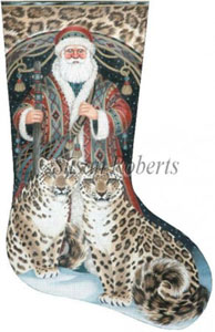 Santa & Snow Leopards Hand Painted Needlepoint Stocking Canvas